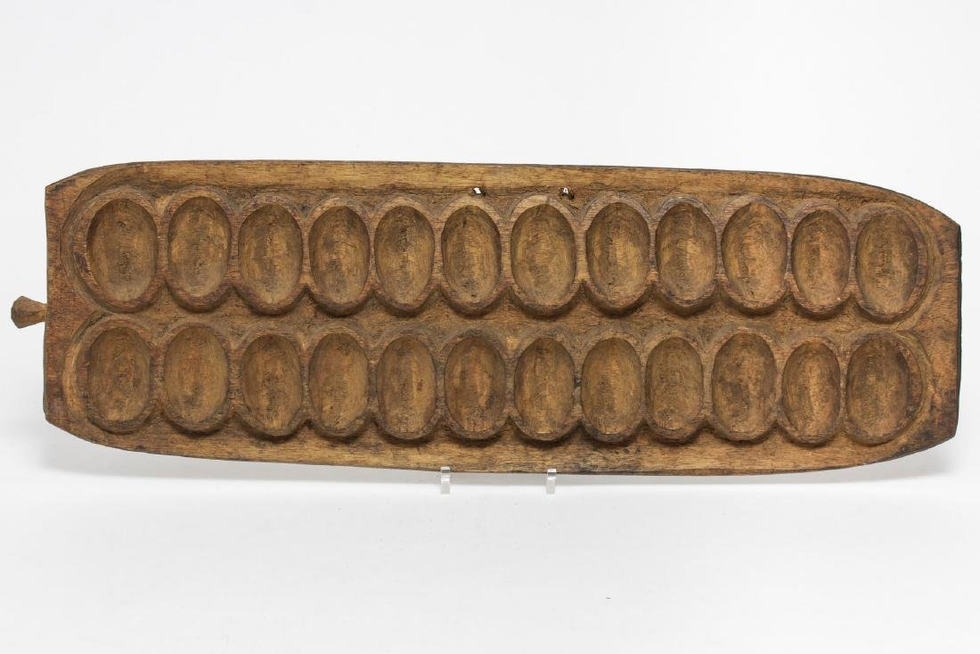 African Tribal Mancala Game Board, Carved Wood