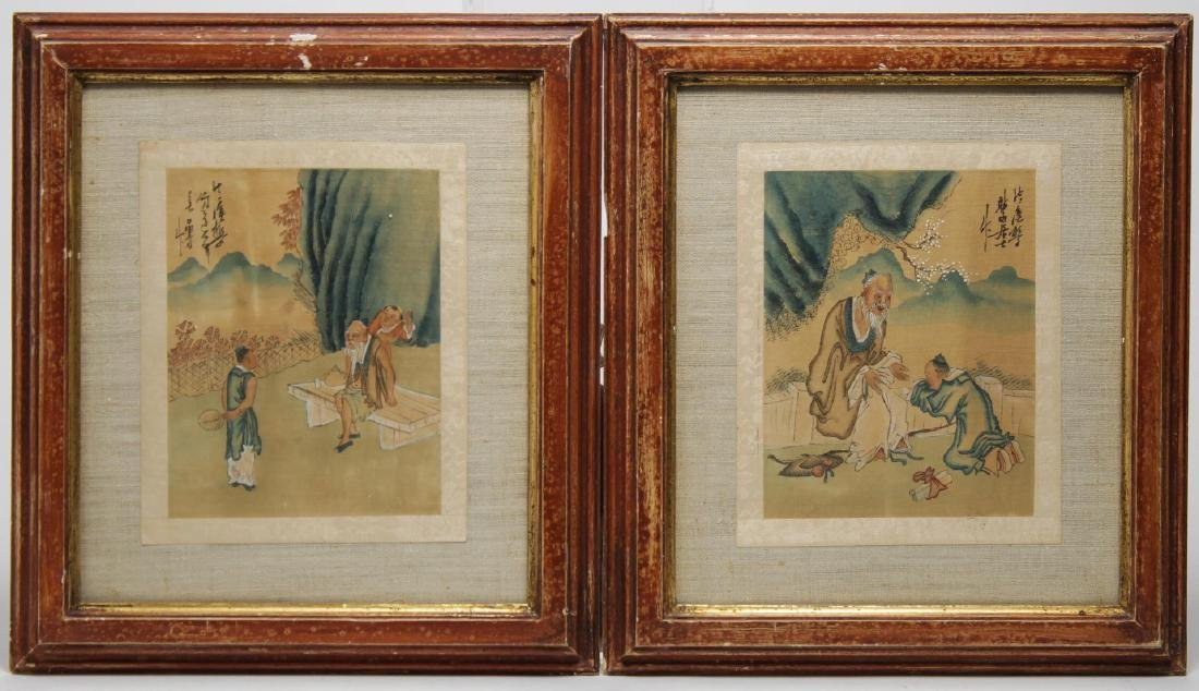 Antique Chinese Watercolors on Silk, Pair