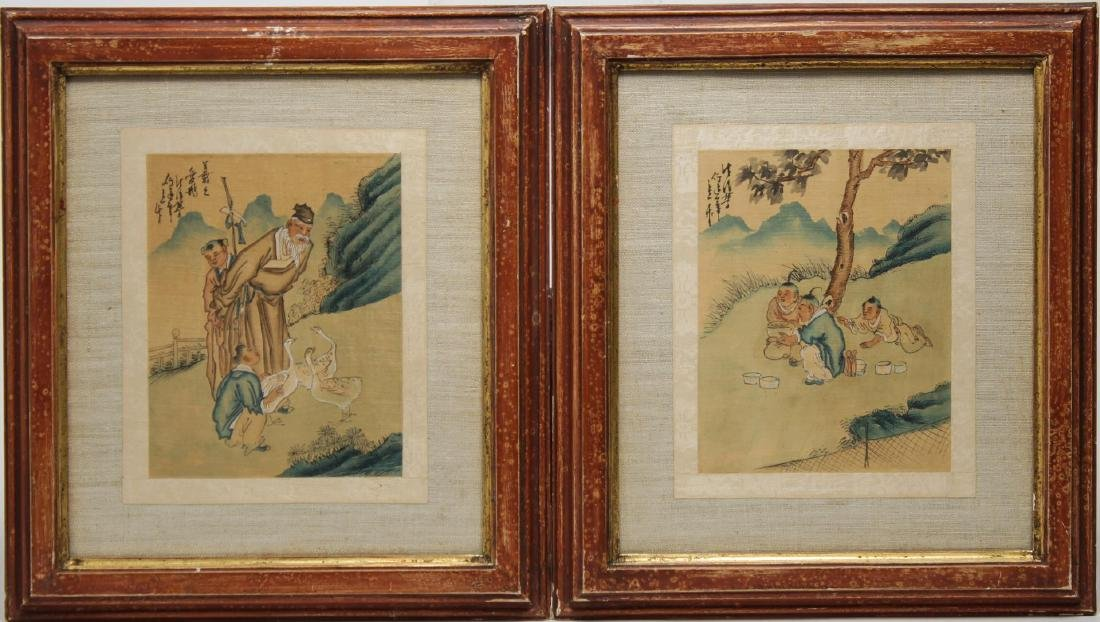 Antique Chinese Watercolor on Silk, Pair