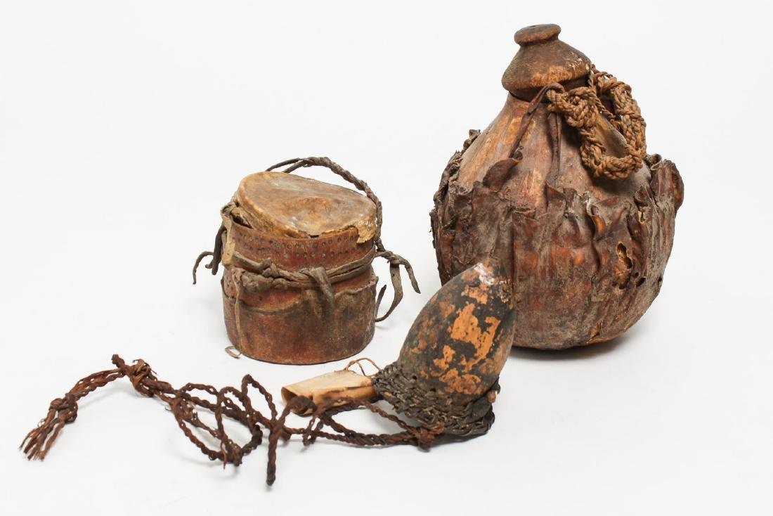 Tribal Ethnographic Gourd or Wood Containers, 3