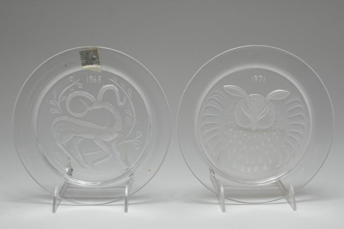 Lalique Crystal Annual Collector Plates, 2