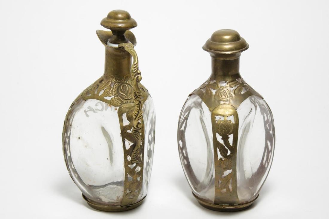 Haig & Haig Pinch Dimple Bottles w. Brass Overlay