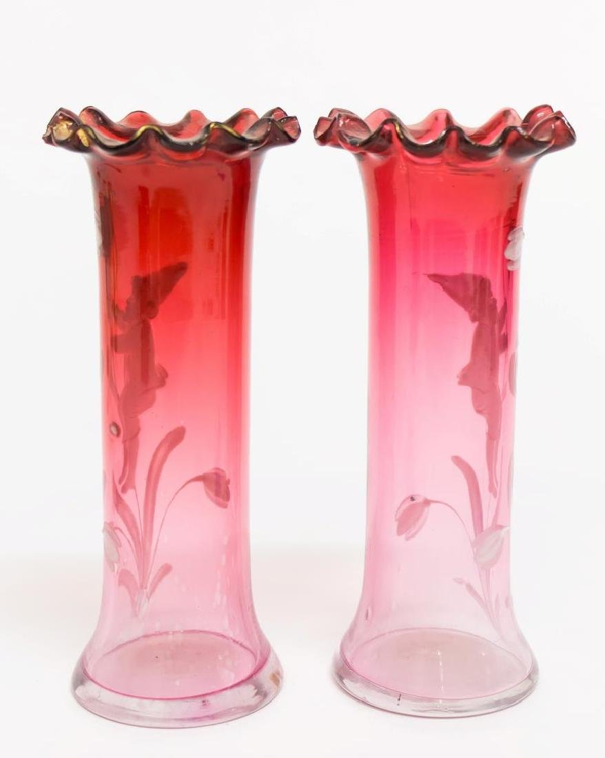 Victorian Mary Gregory Enameled Glass Vases, Pair - 3