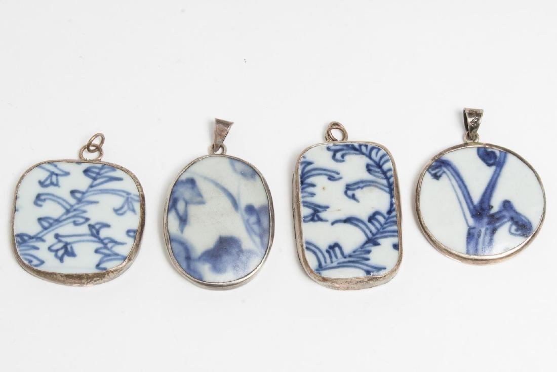 Chinese Blue & White Porcelain Fragment Pendants