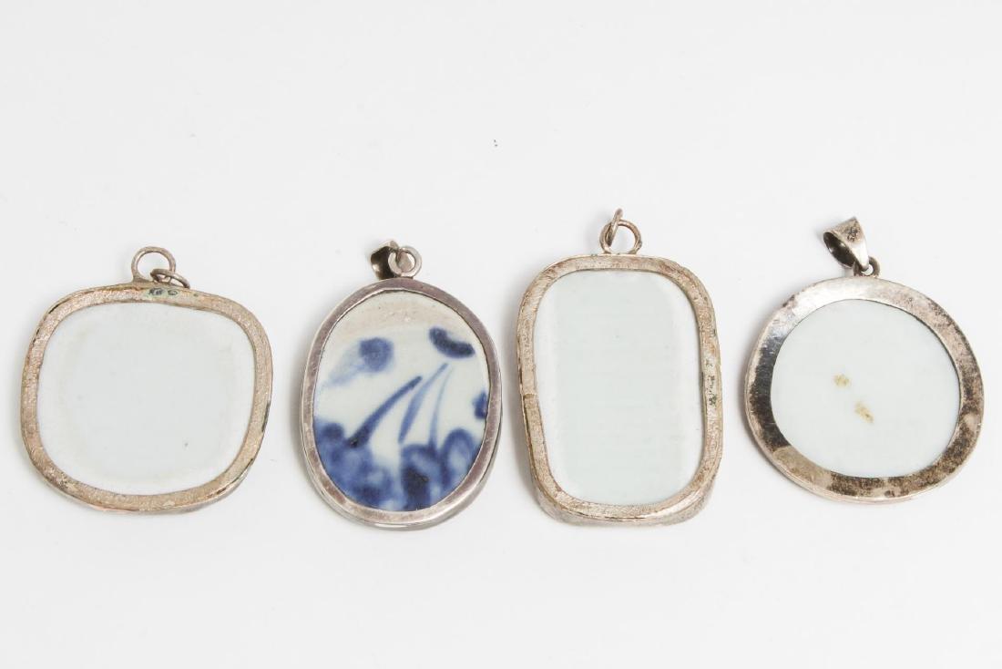 Chinese Blue & White Porcelain Fragment Pendants - 2