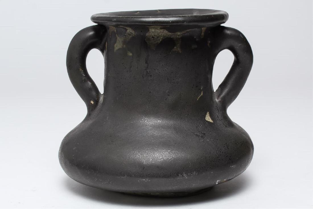 Signed Faye- Studio Ceramic Twin-Handled Vase - 3