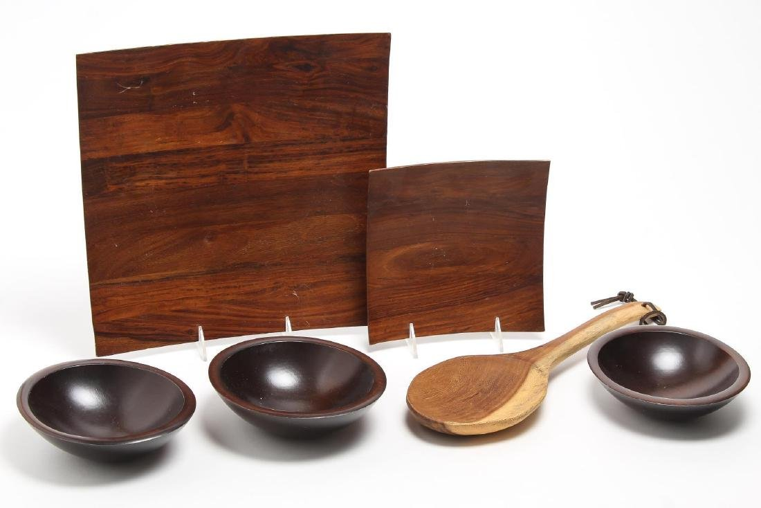 Treen Wood Serving Pieces- Dishes & Spoon, 6 Pcs.