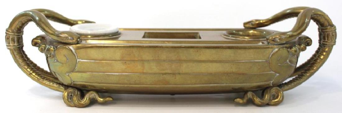 Brass Inkstand w. Snake Handles, Cradle-Form,