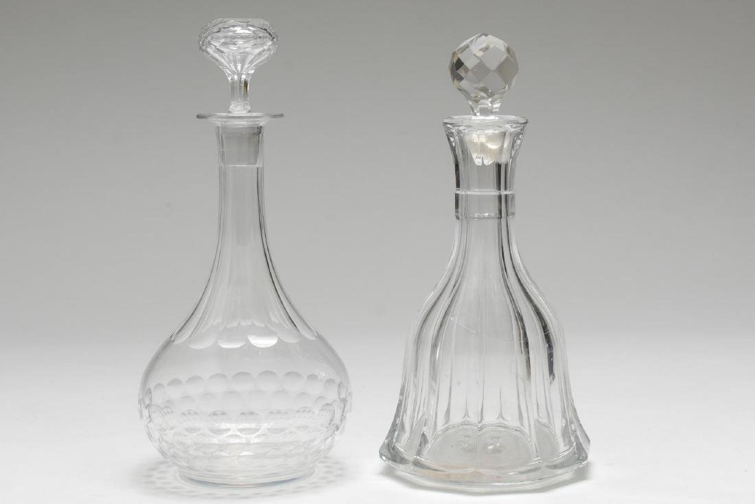 Vintage Colorless Glass Decanters, 2