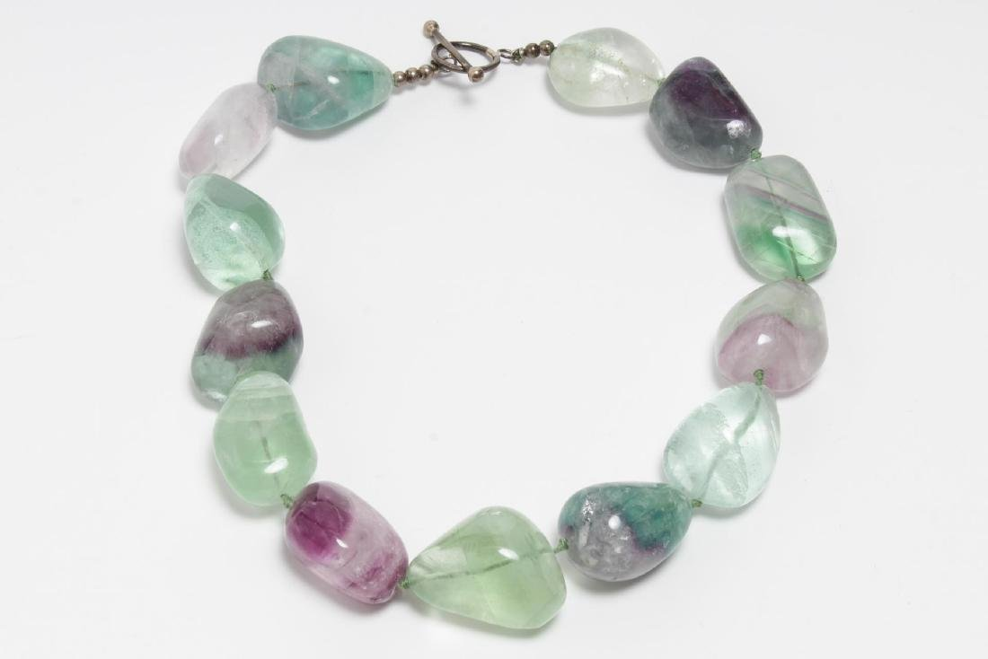 Polished Fluorite Choker Necklace, Woman's