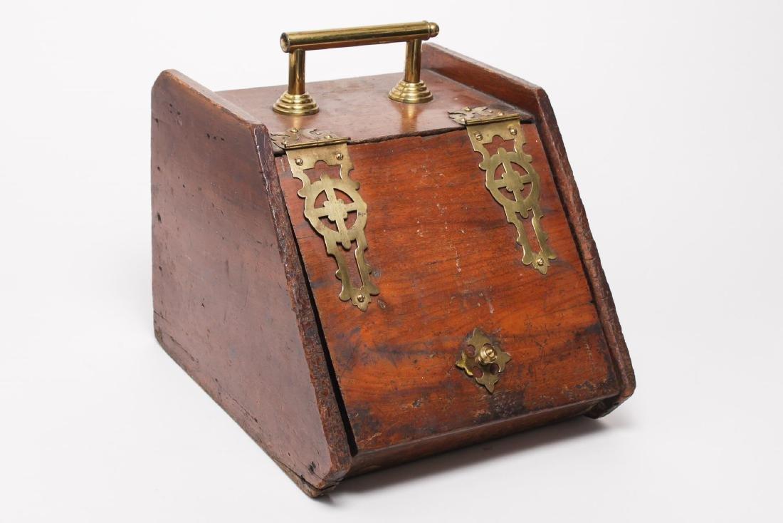 Arts & Crafts Coal Box w. Brass Strapwork, Antique