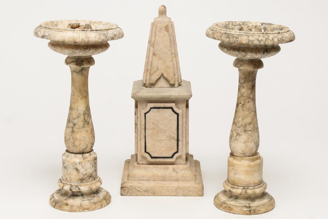 Marble Garniture Set- Obelisk & Candlesticks