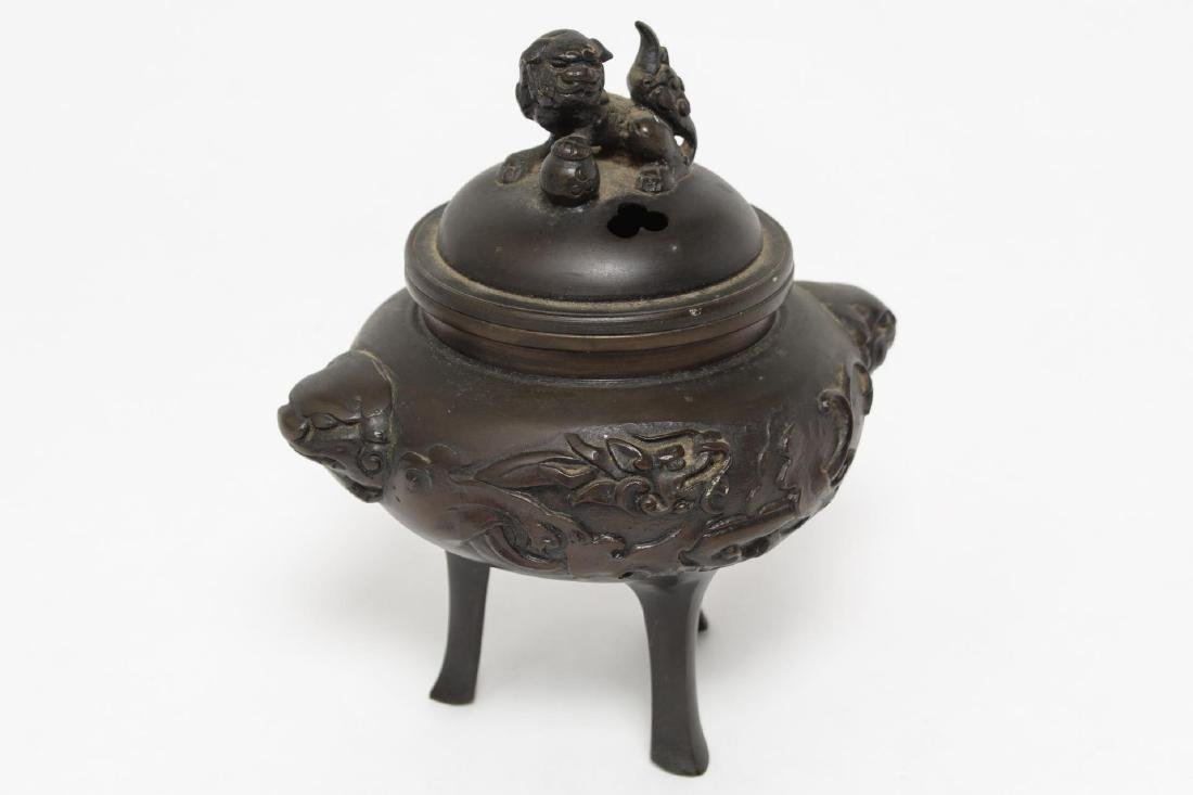 Chinese Bronze Foo Dog Incense Burner, Vintage