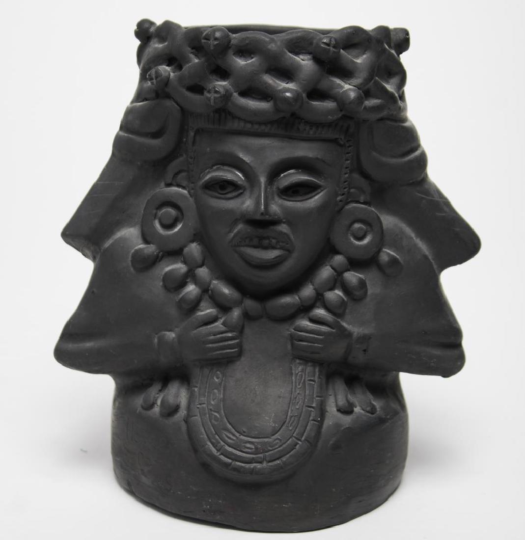 Mesoamerican Aztec-Style Black Pottery Woman