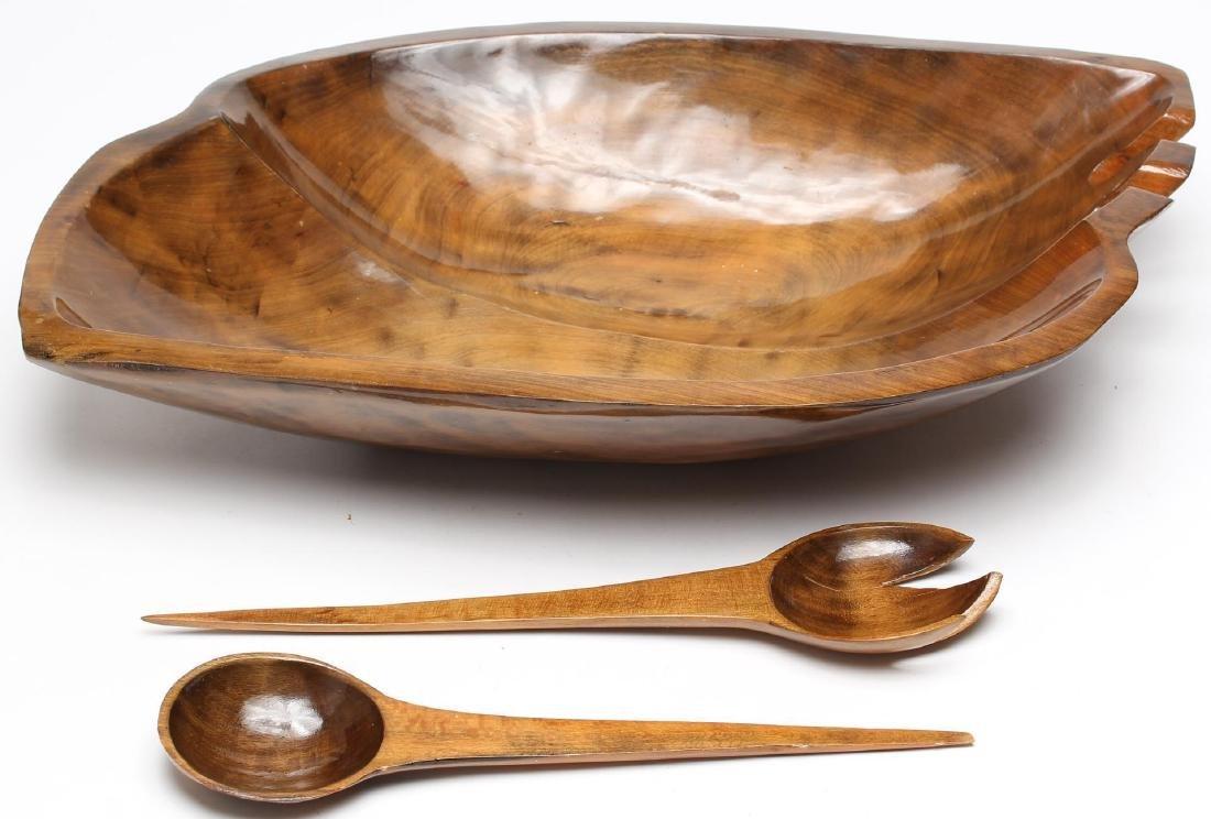 Carved Wood Serving Dishes & Utensils, 4 Pcs - 3