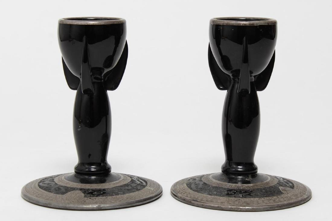 Silver-Overlay Black Glass Candlesticks, Vintage