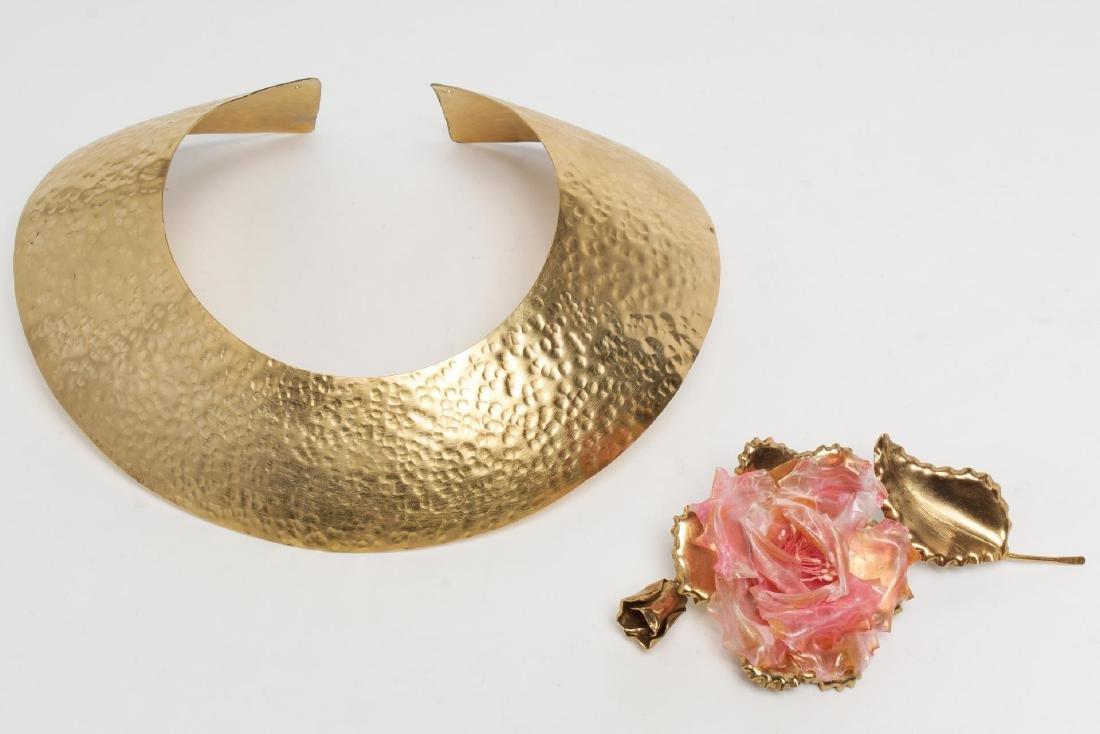 Emanuel Ungaro Rose Brooch, Vintage, with Necklace