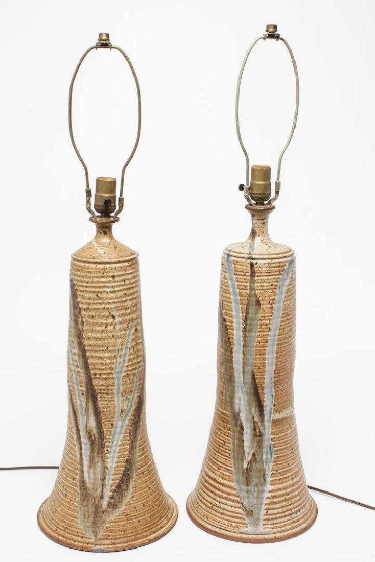 Mid-Century Modern Glazed Pottery Table Lamps, Pr