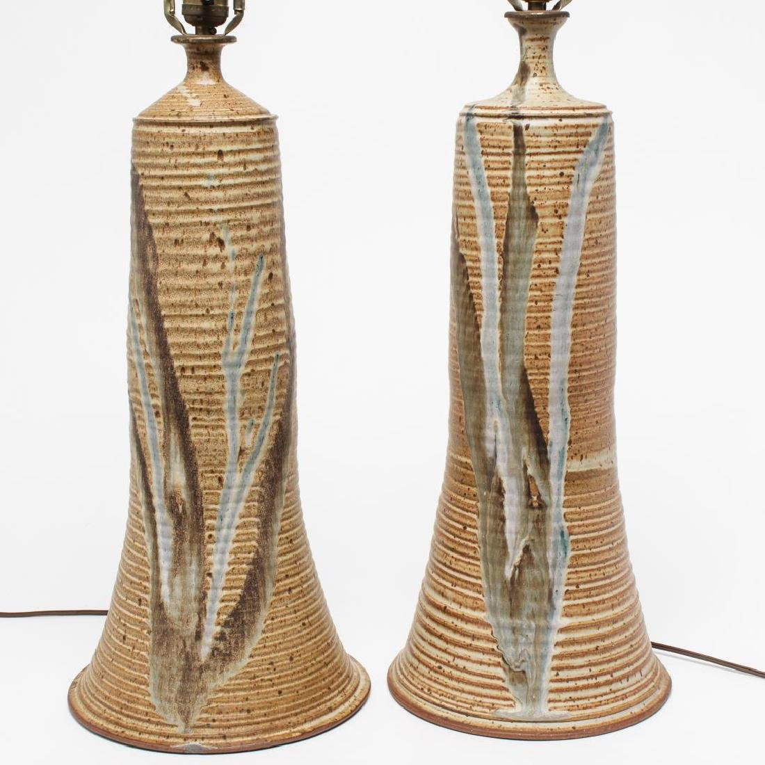 Mid-Century Modern Glazed Pottery Table Lamps, Pr - 2