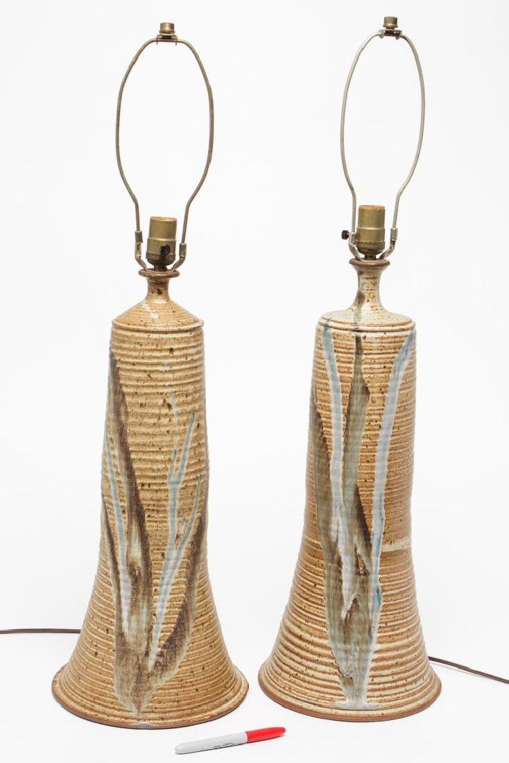Mid-Century Modern Glazed Pottery Table Lamps, Pr - 3