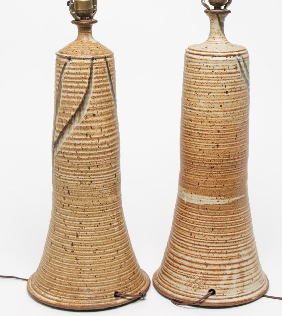 Mid-Century Modern Glazed Pottery Table Lamps, Pr - 4