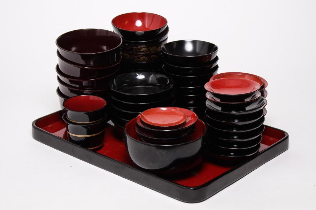 Japanese Black Lacquer Serving Dishes, 33 Pcs