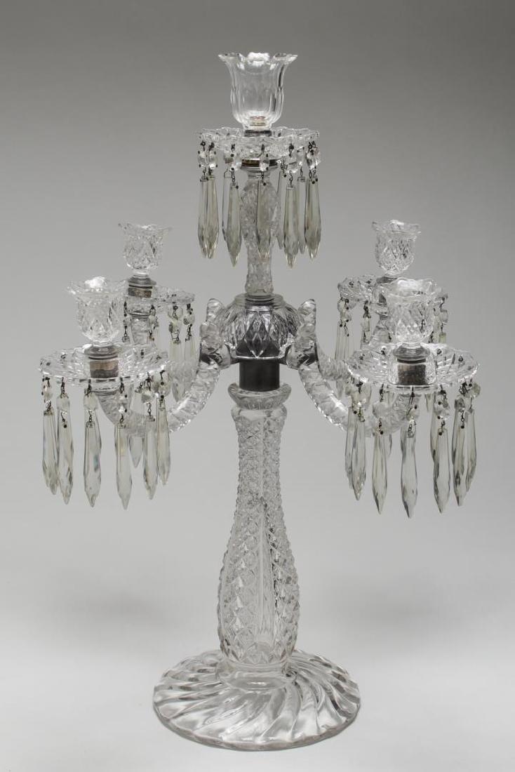 Cut Glass Prism Candelabrum, 5-Light