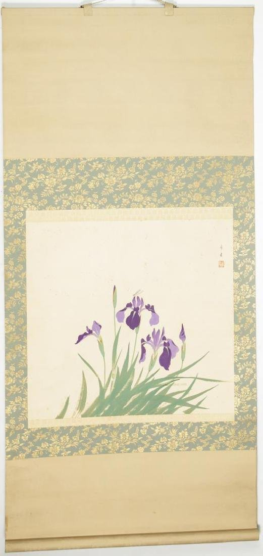 Chinese Hanging Scroll Painting, Purple Irises
