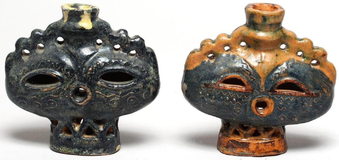 Haniwa-Style Glazed Pottery Candle Holders, Pair