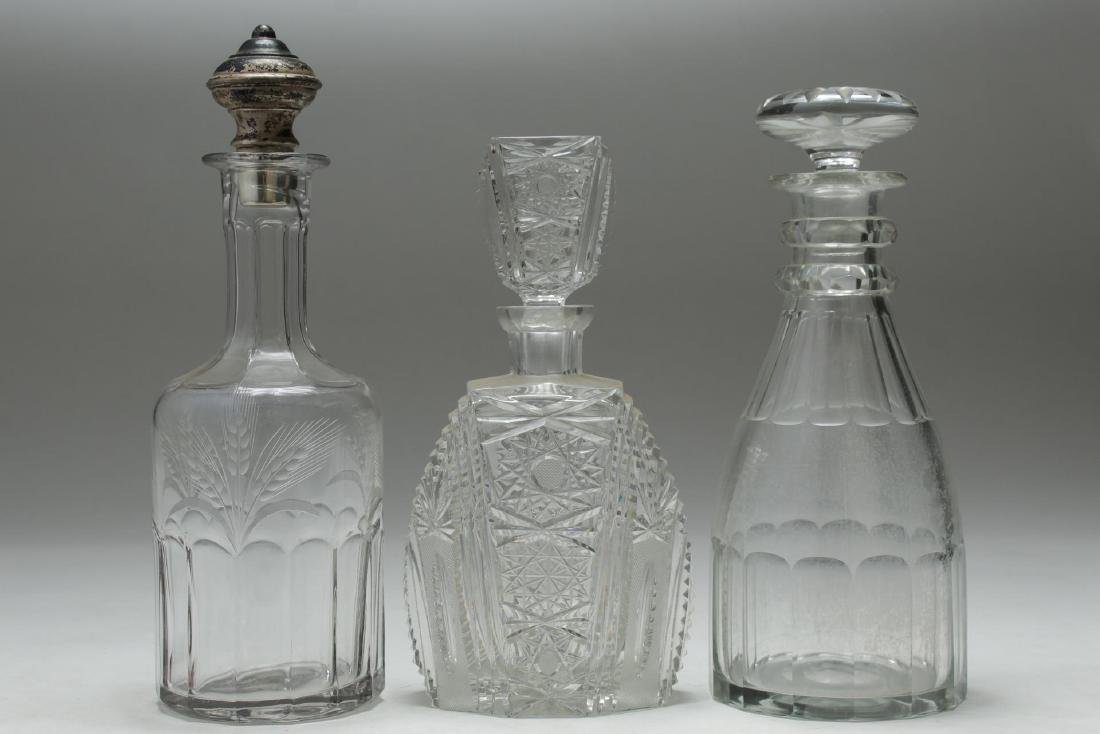 Crystal & Glass Decanters, 3, inc. Silver Stopper