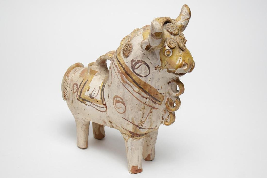 South American Folk Art Pottery Bull, Hand-Painted