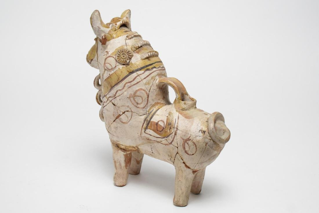 South American Folk Art Pottery Bull, Hand-Painted - 3