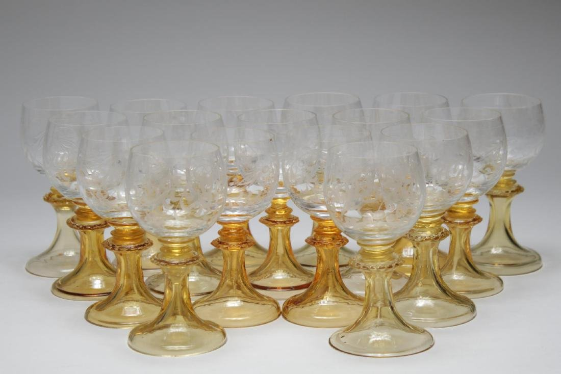 Antique Amber & Clear Wine Glasses, 17