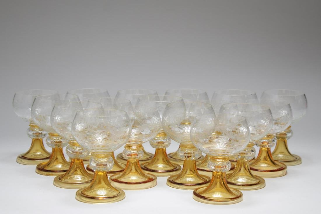 Antique Champagne Coupes,17 Amber & Clear