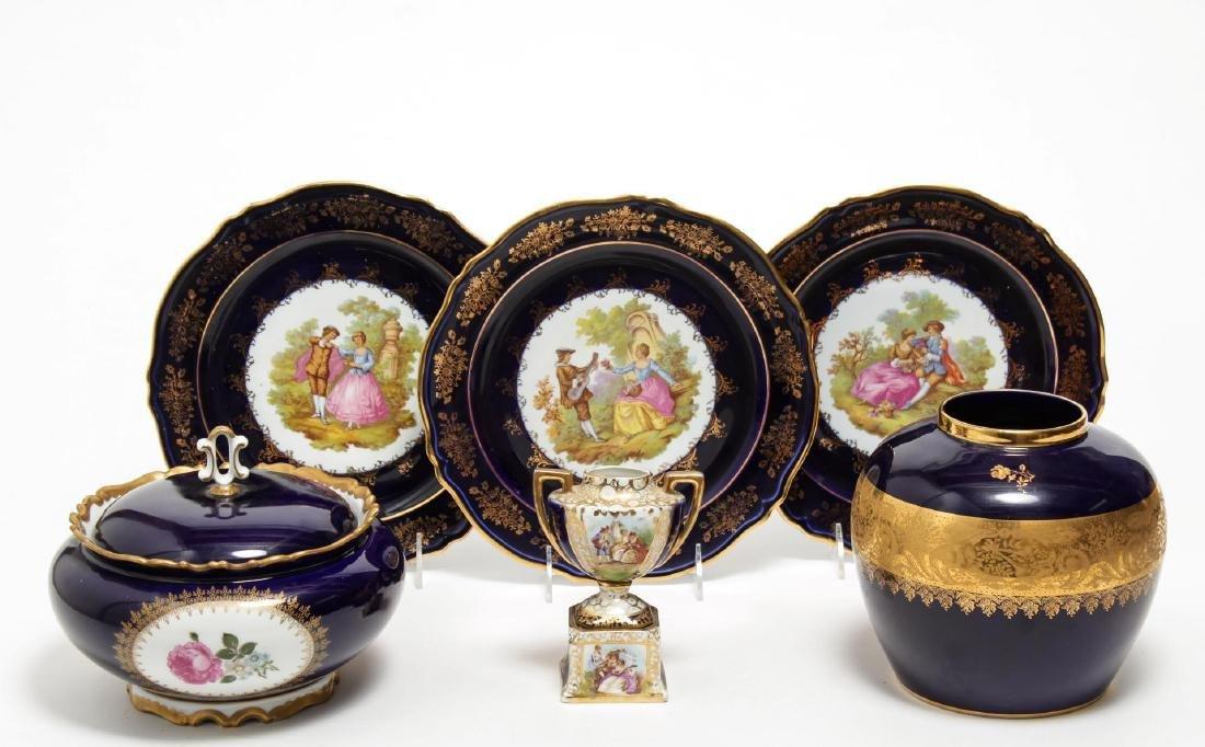 Limoges & Other Cobalt Blue Porcelain Items, 5 Pcs