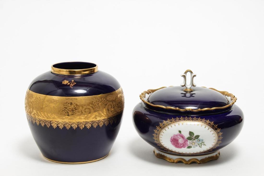 Limoges & Other Cobalt Blue Porcelain Items, 5 Pcs - 6