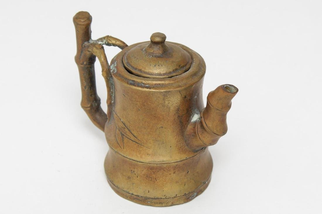 Chinese Brass Teapot w. Bamboo-Style Handle