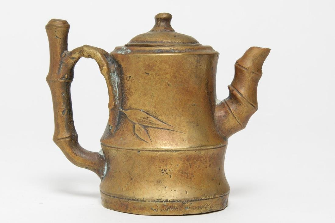 Chinese Brass Teapot w. Bamboo-Style Handle - 2
