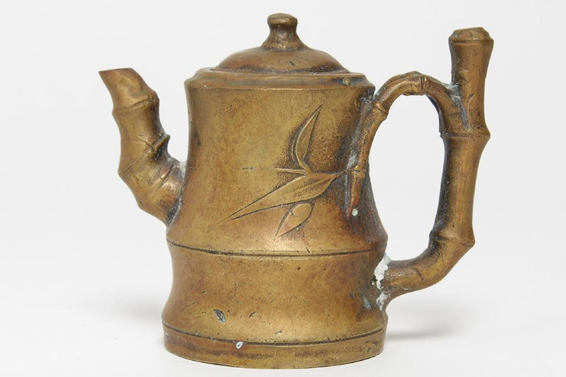 Chinese Brass Teapot w. Bamboo-Style Handle - 4