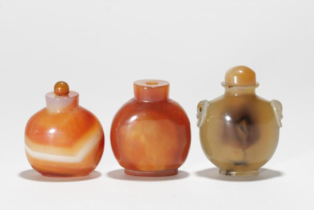 Chinese Snuff Bottles, 3 in Nephrite Jade & Agate