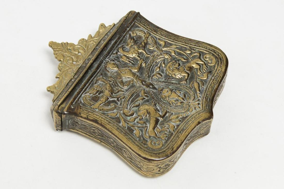 Greek Balkan Brass Palaska Gunpowder Cartridge Box