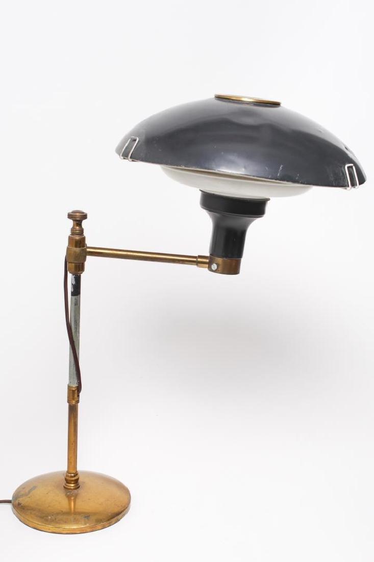 Vintage Swing-Arm Lamp, Enameled Metal & Brass