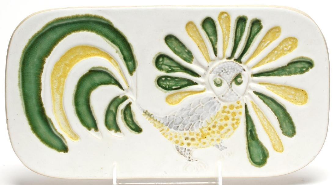 Bennington Vermont Pottery Rooster Trivet, Vintage
