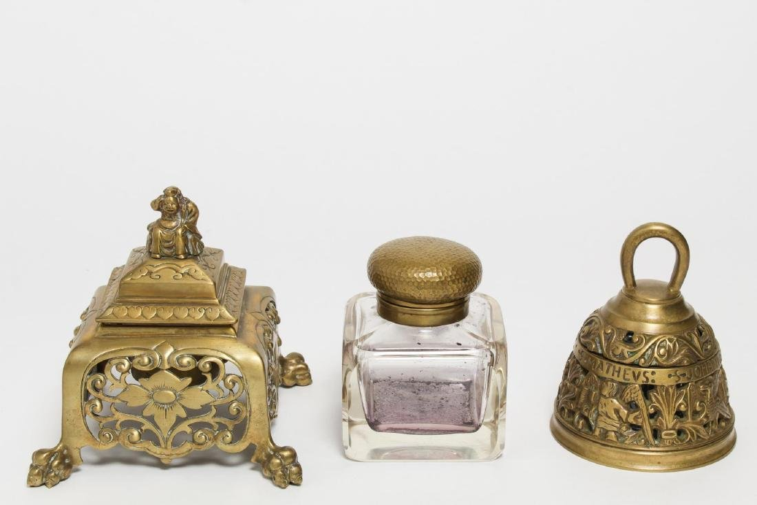 Vintage Gilt Brass Inkwells, Group of 3