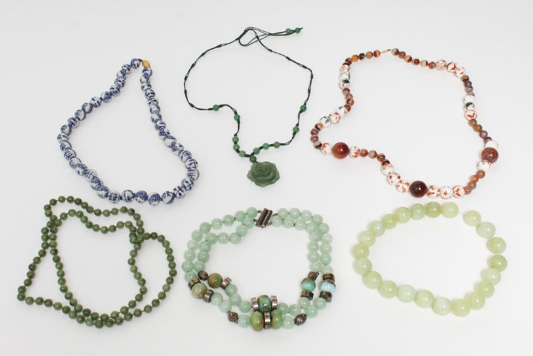 Semiprecious Stone & Bead Necklaces, 6 Woman's