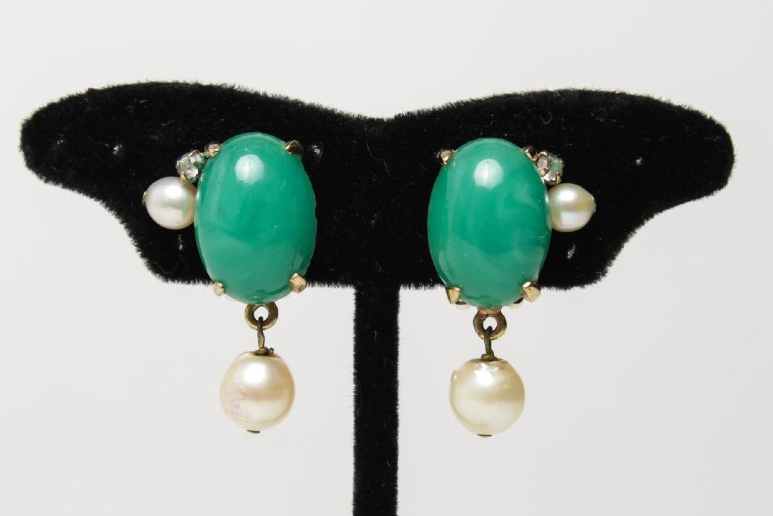 Costume Earrings, Green Glass & Faux Pearl