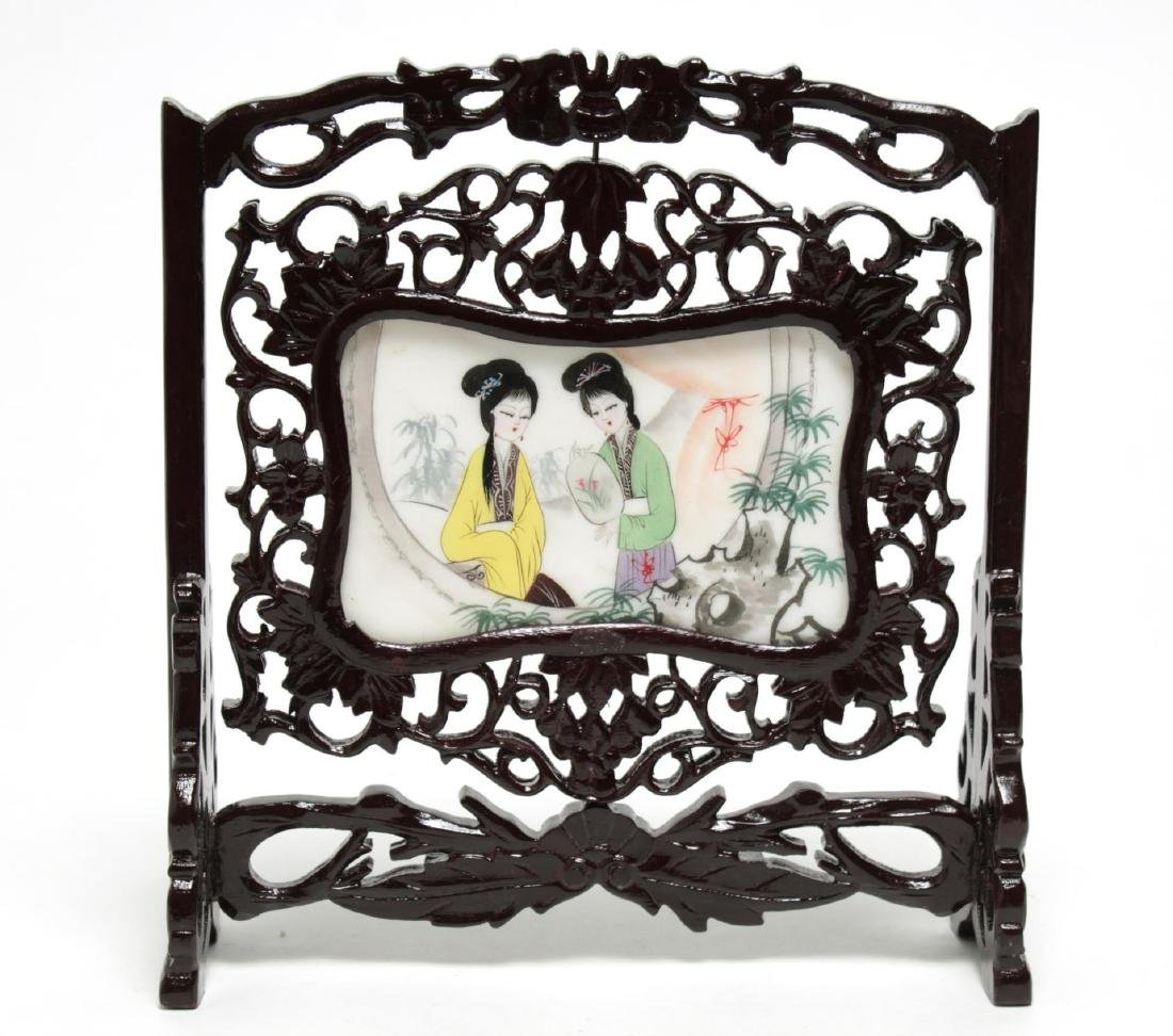 Chinese Hand-Painted & Carved Wood Table Screen