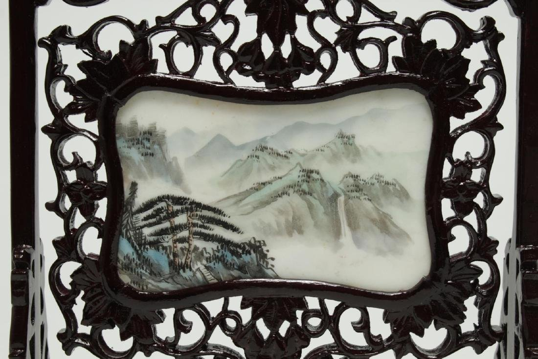 Chinese Hand-Painted & Carved Wood Table Screen - 3