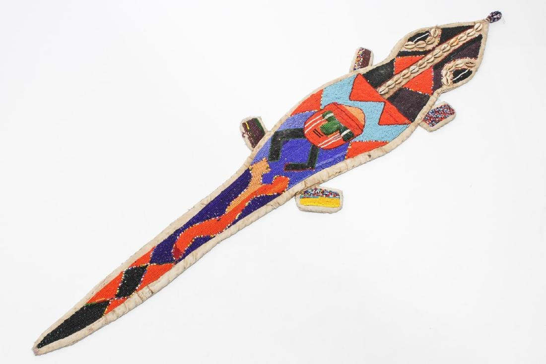 African Yoruba Tribe Beaded Lizard Ceremonial Sash