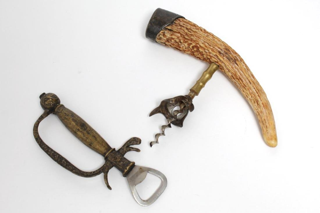 Vintage Gilt-Bronze & Horn Bottle Openers